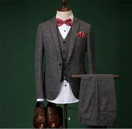 Wholesale Picture Seasons - suit men's quality thick three-piece suit four seasons man groom wedding dress Picture color