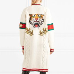 Wholesale Luxury Sweaters Men - 2018 Men Women G Luxury Designer Red Green Striped G Tiger Knit Sweaters Male Printed Cardigan Long Sweaters Long Sleeve Fashion HFLSMY024