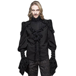 Wholesale Victorian Steampunk Dresses - Steampunk Gothic Men Lace Blouses Victorian Double Layer Cuff Ruffle Black Shirts Skull Print Petal Sleeve Tuxedo Shirts