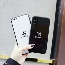 Wholesale Glasses Hard - For iPhone X brand printed English letters tempered glass phone case for iphone X 7 7plus TPU + PC hard cover for iphone 8 8plus