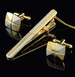 bandeira france cor Desconto Ouro e Prata Two-tone Twill Simples Tie Clipe Abotoaduras Conjunto de Alta Qualidade Tie Clip Abotoaduras para Frete Grátis