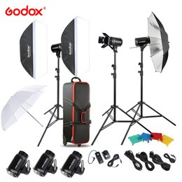 Wholesale Photography Strobe - Godox E300-D 14 in 1 Professional Photography Photo Studio Speedlite Lighting Lamp 3 * 300W Studio Flash Strobe Light Kit Set