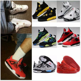Wholesale Cats Shoes Woman - High Quality Air Retro 4 Man ball Shoes White Pure Money Thunder Cement Fire Red Fear Black Cat Mens Women Outdoor Sports Shoes