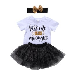 Wholesale Girls Skirt Shorts - New Baby Girl Princess Tutu Dress Boutique girls set T-shirt+Skirt+Headband Outfit Baby Girl Clothes Lovely Kids Clothing