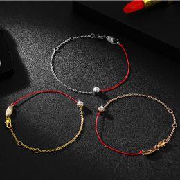 2019 pulsera de oro coreano Cuerda roja coreana Taladro simple Cuerda a mano Pulsera de oro decorado Mujer Año del destino pulsera de oro coreano baratos