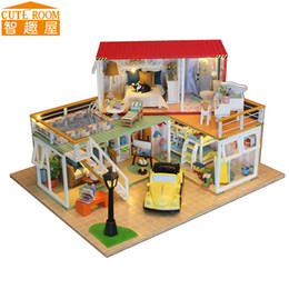 2019 casa de muñecas de luz led bricolaje Venta caliente DIY Casa de Muñecas Miniatura de madera Casas de muñecas Casa de muñecas en miniatura con muebles LED Luces Regalo de cumpleaños 13841 casa de muñecas de luz led bricolaje baratos