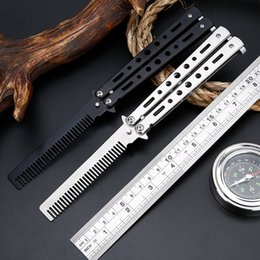 Wholesale Practice Balisong - Black Silver Stainless Steel Practice Butterfly In Knife Balisong Trainer Training Folding Knife Dull Tool Outdoor Camping Comb
