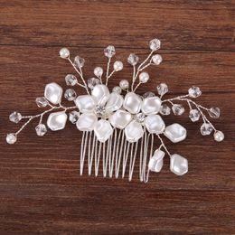 Wholesale Decorate Tiaras - European style bridal hair comb studio decorated pearl silk flower tiara wedding bridal tiara wholesale