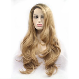 Wholesale Synthetic Wigs Wavy Black - Fashion Long ombe Blonde Synthetic Lace Front Wig for Black Women African American Wavy Heat Resistant Hair