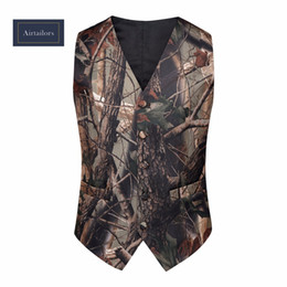 Wholesale Mens Casual Vests - 2018 Camo Mens Dress Wedding Vests Realtree Camouflage Slim Suit Vest Sleeveless Suit Jacket Outerwear Groom Vest (Wastcoat+Tie)