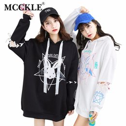 Wholesale White Hoodies For Ladies - MCCKLE Harajuku Two style Sweatshirt For Women Pattern Kwaii Ladies Hoody Shirts Long Loose Tracksuits Autumn Girl Hoodies