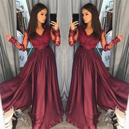 Wholesale Sexy Celebrity See Through Dress - 2018 Cheap Charming Modern Burgundy Prom Dresses V Neck See Through Long Sleeves Arabic Evening Gowns Graceful Formal Party Celebrity Gowns