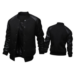 2020 jaquetas de camisola do time do colégio Jacket nova tendência Preto Colégio Baseball Men / Boy Veste Homme Casual Pu Leather Sleeve Mens camisola Varsity Jackets para a queda jaquetas de camisola do time do colégio barato