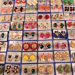 Orecchini casuali online-Stile casuale della miscela 30Pairs / lot con gli orecchini all'ingrosso degli orecchini di modo della gemma dell'oro della scatola Nuovi monili di modo HJ002 superiore di alta qualità