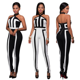 Wholesale Plus Size White Rompers - Black White Womens Jumpsuits Halter Sexy Jumper Rompers Sleeveless Maxi Overalls Zipper Hot Sexy Club Bodycon Full Length Plus size