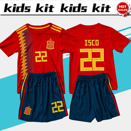 Wholesale Green Kids - 2018 world cup Spain soccer Jersey Kids Kit 2018 Spain home red Soccer Jerseys #7 MORATA #22 ISCO Child Soccer Shirts uniform jersey+shorts