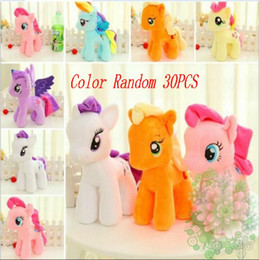 Wholesale Horse Plush Doll - Wholesale 30pcs Color random 25cm little horse toy Plush toys Unicorn doll toys for Children Christmas Toys soft dolls For Baby Good Gifts