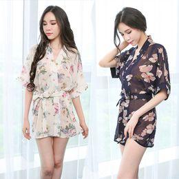a90e0d7e92 bathrobes women chiffon Coupons - Perspective Deep V Chiffon Robe Short  Kimono 2018 Sexy Transparent Night