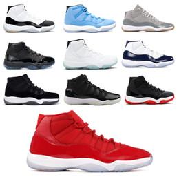 2019 chaussures en ligne high-cut 11s bonnet et robe de bal d'étudiants de nuit de basket-ball pour hommes Platinum Tint Gym Red Bred PRM Héritières Barons Concord 45 Baskets de sport gris cool