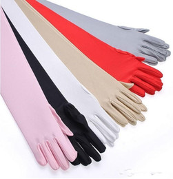 Wholesale Long Gloves Woman - In Stock 6 Color Full Finger Opera Woman Evening Party Long Wedding Gloves Bridal Accessories Cheap