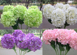 Wholesale Artificial Flowers Hydrangeas - 47cm Artificial Hydrangea Flower Head Fake Silk Single Real Touch Hydrangeas 8 Colors for Wedding Centerpieces Home Party Decorative MYY