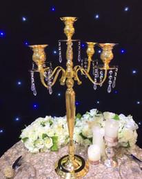 Wholesale vase stand metal - 63cm(H) Gold Wedding flower vase metal candelabra candle holder table centerpiece flower stand Wedding Decoration
