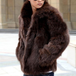 Wholesale Black Mink Coats - Winter Men's Faux Fur Jacket Fashion Fox Fur Warm Mink Coat Solid Color Outerwear mens thick coats Brown White cardigan