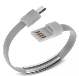 Wholesale Micro Usb Charging Bracelet - Bracelet Hand Wrist Data Sync Charger Charging USB Cable 20cm Fast Charging Portable Noodle Usb Charger Cable For Micro V8 Android