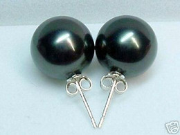 Wholesale sea earrings - 12mm white pink gray black brown yellow sea shell pearl stud earring round very strong Silver Hook Vintage Earrings Lady's