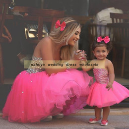 Wholesale Strapless Ball Gown Patterns - 2018 Strapless Ball Gown Said Mhamad Rose Pink TuTu Flowers Girls Dresses Little Girl Patterns Mother and Daughter Dress Gowns