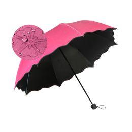 Wholesale folding parasol sun umbrella - New Lady Princess Magic Flowers Dome Parasol Sun Rain Folding Umbrella Windproof Sunscreen Magic Flower Umbrella DHL FREE