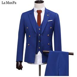 Wholesale Male Prom - LA Maxpa (jacket+pants+vest) New fashion men suit male suit for wedding spring autumn casual slim fit prom groom party