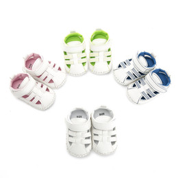 Wholesale handmade baby sandals - 2018 New summer kids shoes Blue line Handmade stitching toddler shoes Rubber sole baby sandals for 0-1years old children shoes