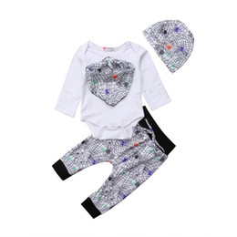 7923e590e33 Halloween Baby Girls Boys Clothes Set 4Pcs Long Sleeve Rompers Floral Long  Pants Trousers Hat Kerchief Outfits For Newborns
