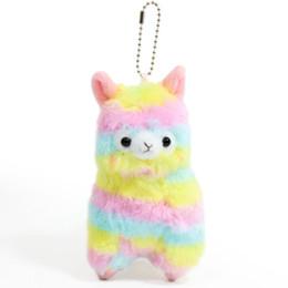 Argentina Llama Arpakasso llavero Animal de peluche Rainbow Alpaca suave juguetes de peluche Kawaii Lindo colgante niños regalo de Navidad 14 cm / 5.5 pulgadas AAA1012 Suministro