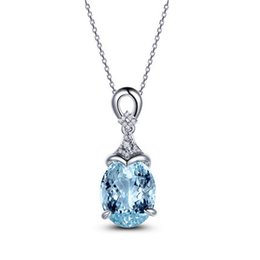Wholesale Diamond Pendant Wholesale - 5.15ct Natural Aquamarine Crystal Pendant Necklace Prong 0.08ct Diamond Jewelry For Women Elegant Party Clavicle Chain Gift