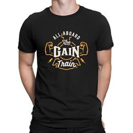 Camisetas de entrenamiento baratas online-Todos a bordo de The Gain Train Camiseta Novedad Cheap O-Neck Elegante camiseta para hombres Character Tee Top Anlarach Spring Autumn