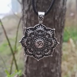 Wholesale namaste necklace - SanLan 12pcs Antique Silver Om Lotus Mandala Pendant Necklace spiritual jewelry flower Buddhist peace harmony namaste