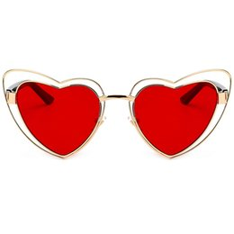 Wholesale vintage heart shaped glasses - Love heart fashion sunglasses women vintage Christmas gift black pink red heart shape cool sun glasses for women uv400