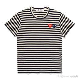 Wholesale striped shirt womens - 2018 AAA Quality HOLIDAY Heart Emoji PLAY Mens Womens Striped DES play GARCONS CDG Heart Striped tee short Sleeve T-shirts