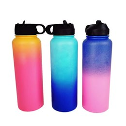 Wholesale Color Kettle - Outdoor Water bottle 40oz Sport Insulated Stainless Steel Water Bottle Wide Mouth Gradient Color Water Bottle Filp Lids With Straw Epacket