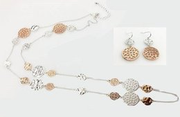 Wholesale Filigree Engagement - EARRING A NECKLACE PER SET TWO TONE PLATING COLORS METAL STYLE WAVE AND FILIGREE METALS LONG NECKLACE SILVER AND ROSE GOLD MIXED