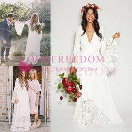Wholesale Lace Bell Sleeves - 2017 Boho Beach Wedding Dresses Bohemian Long Bell Sleeve Lace Flower Bridal Gowns Plus Size Hippie Wedding Dress