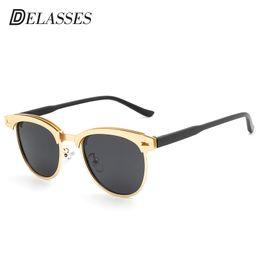 383da32eab1 DELASSES 2018 New Polarized Sunglasses Men Women Retro Rivet Polaroid Lens  Top Brand Designer Sun Glasses Eyewear Oculos De Sol
