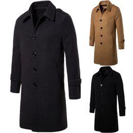 decca27c5d22 Schöne neue Männer Revers Verdicken Wollmantel Mode England Stil Männer  Business lange Einreiher dünne Mäntel für Herbst Winter