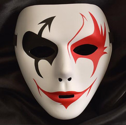 Wholesale masquerade party props - False Face Masquerade Hip Hop Adult Mask Hand Painted Cosplay Halloween Decor Party Product Props Masks Party Mask CCA10171 240pcs