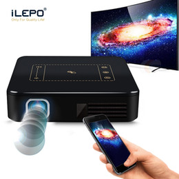 Wholesale Touch Screen Hdmi Usb - Newest Home Cinema Portable Projector android 7.1 Quad-core 16GB ROM 802.11 AC 5G WiFi Mini Projector Touch screen LED light Projectors