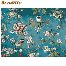 Farbe zahlen blumen online-RUOPOTY Vögel und Blume DIY Malen nach Zahlen Kits Zeichnung auf Leinwand Home Wall Art Decor handbemalt Malerei für Artwork