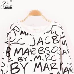 Argentina Las manos del oro del verano del otoño señora de la moda de la letra mangas largas Sweatershirt mujeres del o-cuello jersey sólido Sweatershirt envío gratis Suministro