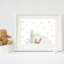 Wholesale Kids Wall Canvas - The Little Prince Print Watercolor Nursery Art , The Little Prince and Fox Canvas Painting Kids Bedroom Wall Decor